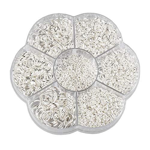 FLZONE Biegeringe Offene,1450 Stück Offene Ringe Offener Biegering 3 mm bis 10 mm zum Anschließen von Halsketten,DIY Schmuckherstellung-Silber