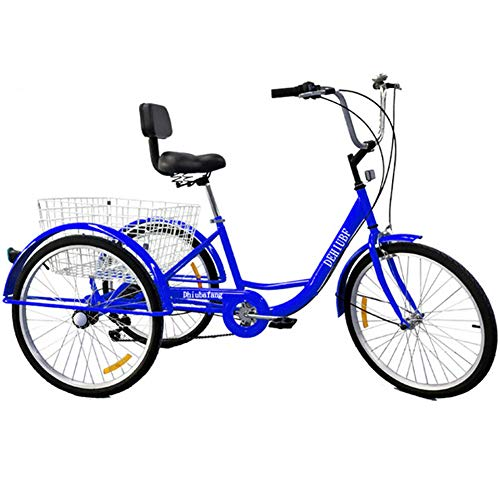 TTFGG Comfortable 3-Wheel Bicycle,24-Inch Adult Bike Tricycle with Large Basket Backrest Seat,Suitable for Teenagers, Ladies, Men, Shopping, Shopping, Sports, Leisure,Blue