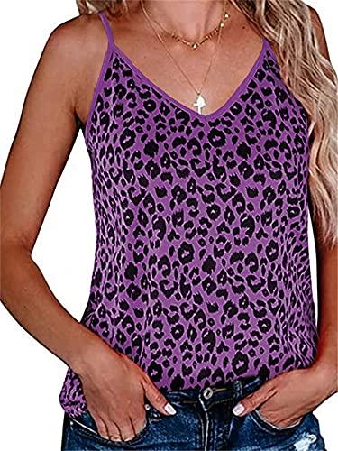 Camisola Mujer Sexy Estampado De Leopardo Top Sin Mangas Verano Playa Vacaciones Ocio Cómodo Tejido Elástico Transpirable Elegante Mujer Top Mujer Blusa F-Purple M