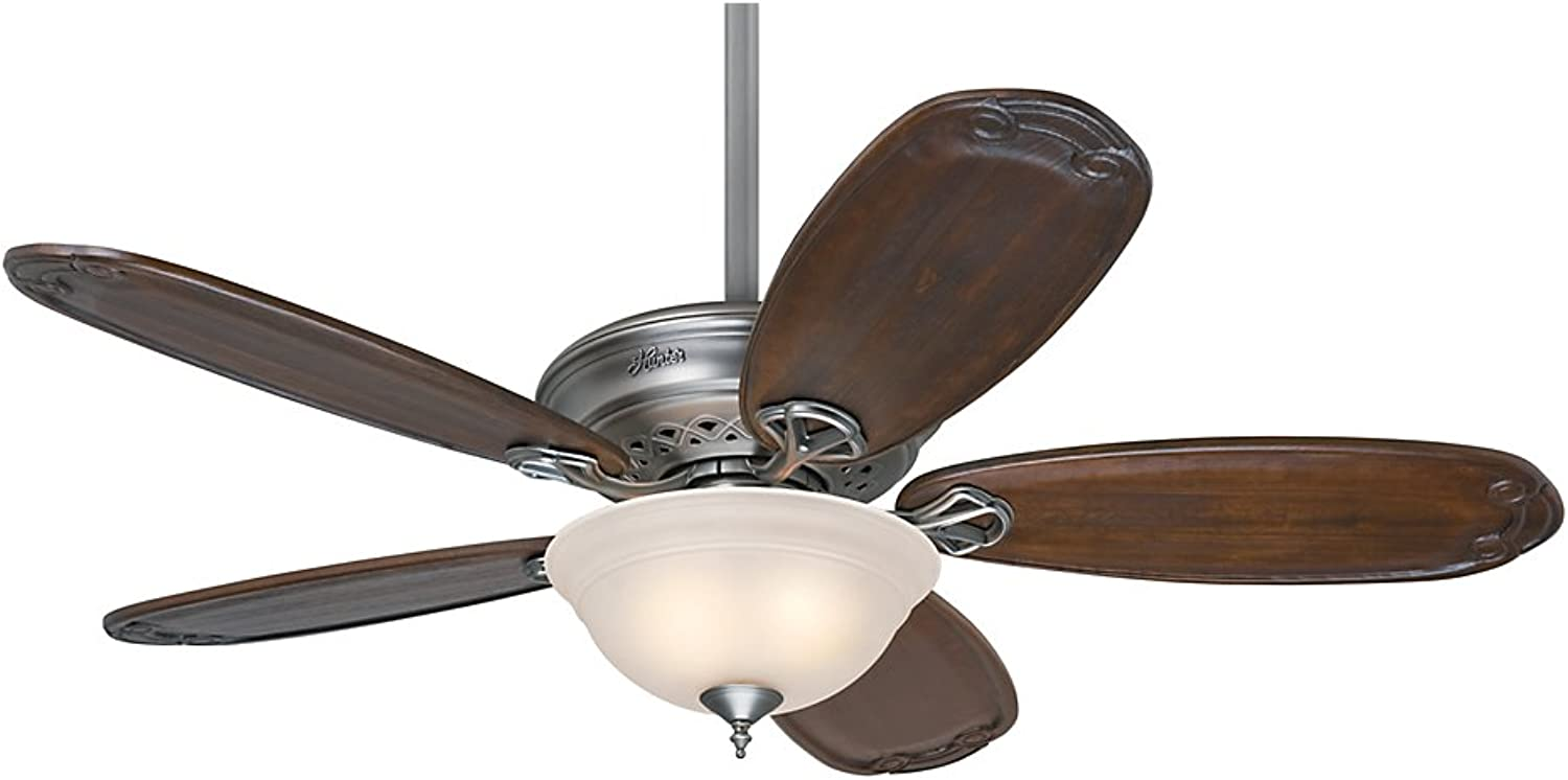 Hunter 54074 Teague 54  Antique Pewter Ceiling Fan with Five Blackened Pecan Blades