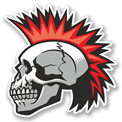 2 x Mohawk Skull Vinyl Sticker Decal iPad Laptop Car Bike Punk Rock Cool #4786 (10cm x 10cm)