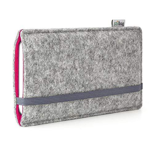 stilbag Handyhülle Finn für Apple iPhone X | Farbe: hellgrau/pink | Smartphone-Tasche aus Filz | Handy Schutzhülle | Handytasche Made in Germany
