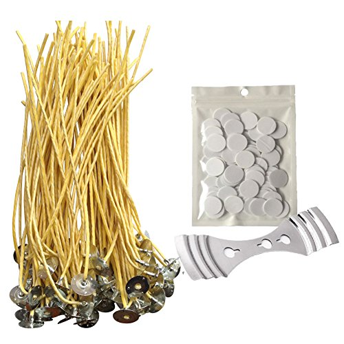 Homankit Candle Making Kit | 100 Pieces x 20cm Pre Bees Waxed Wicks with Sustainer Tabs, 100 dots Double-Sided Wick Stickers and 1 Piece Stainless Wick Fixed Holder for Candle Making