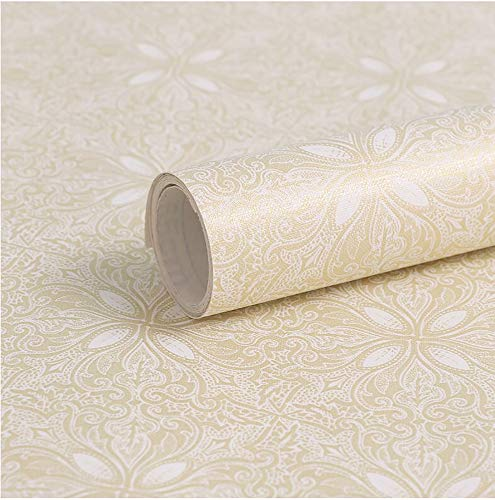 "Gold Floral Wallpaper Gold Peel and Stick Wallpaper Self-adhesive Removable Contact Paper Gold Floral Waterproof Wallpaper Decorative Wall Covering Shelf Drawer Liner Vinyl Film17.7""x 78.7"""