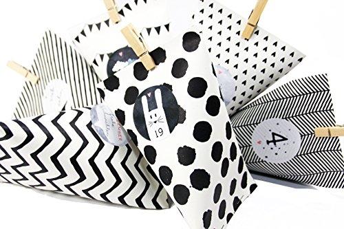 DIY adventskalender knutseldozen dozen zwart/wit slinger voor mannen om te vullen knutselen