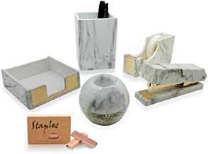 gold and marble office supplies
