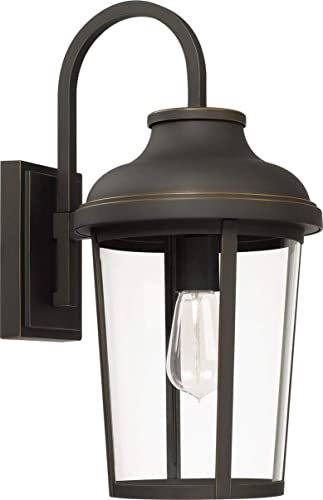 new arrival Capital Lighting 927011OZ Dunbar 18.25 Inch Outdoor Wall Lantern Approved discount for Wet Locations, Oiled Bronze high quality Finish with Clear Glass sale