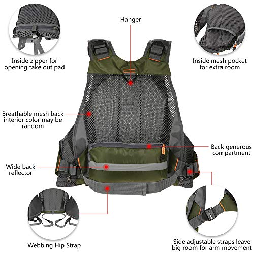 Lixadaフィッシングベストフローティングベストライフジャケット通気性よく多機能95kgまでの負荷力