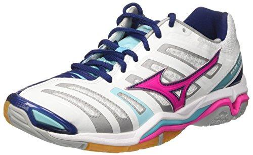 Mizuno Damen Wave Stealth WOS Gymnastikschuhe, Weiß (White/Pink Glo/Blue Radiance 64), 38.5 EU