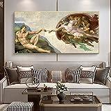 La creación de Adán por Michelangelo pinturas en lienzo en los carteles e impresiones artísticos de la pared imágenes artísticas famosas para la sala de estar 60x120 CM (sin marco)