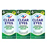 Clear Eyes Eye Drops, Maximum Itchy Eye Relief, 0.5 Fl Oz (Pack of 3)