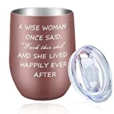 Wine Tumbler Wine Cup Vacuum Insulated Coffee Mug 12 oz Stainless Steel Stemless Wine Glass with Lid Gifts for Girls Mom Women