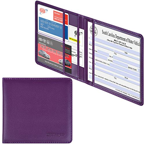 Wisdompro Car Registration and Insurance Documents Holder - Premium PU Leather Vehicle Glove Box Paperwork Wallet Case Organizer for ID, Driver's License, Key Contact Information Cards - Purple