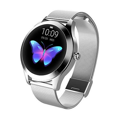 FBLWT Smartwatches Reloj Inteligente para Mujer Kw10 Color Ip68 Señoras Fitness Tracker Pantalla Táctil Redonda - Correa De Acero Plateado
