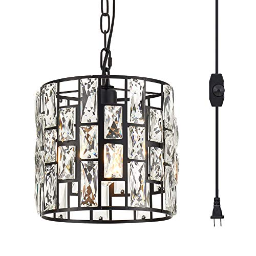 YLONG-ZS Hanging Lamps Crystal White Swag Lamp Rustic Pendant Light Plug in 16.4 FT Cord Hanging Pendant Light Cage in-Line On/Off Dimmer Switch for Kitchen Island, Dining Room,Black Finish