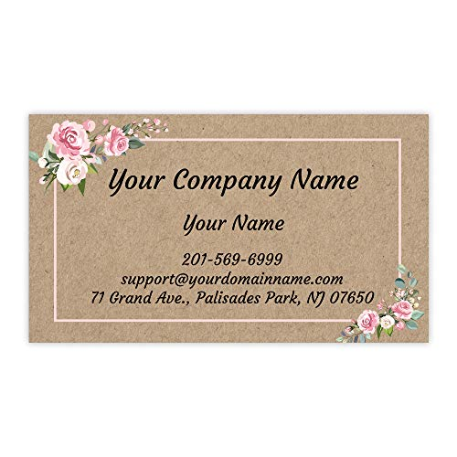 Custom Premium Business Cards 100 pcs Full color - Printed on Classic matte paper 14pt (114 lbs. 308gsm-) (Kraft-Floral), Made in The USA