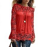 MORCHAN Chemise à Manches Longues pour Femmes Fashion Casual Blouse en Dentelle Tops en Coton lâche T-Shirt(FR-46/CN-XXXXL,Rouge)