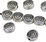 50 Spirale Metall Perlen Spacer 6mm Silber Metallperlen Schmuckteil für Schmuckherstellungs Zubehör DIY Schmuck Basteln F367