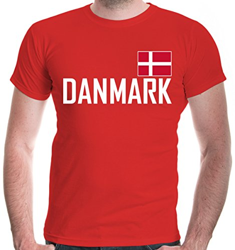 buXsbaum Herren T-Shirt Dänemark | Denmark Danemark Danmark Dinamarca Europa | Ländershirt Fanshirt Flagge | M, Rot