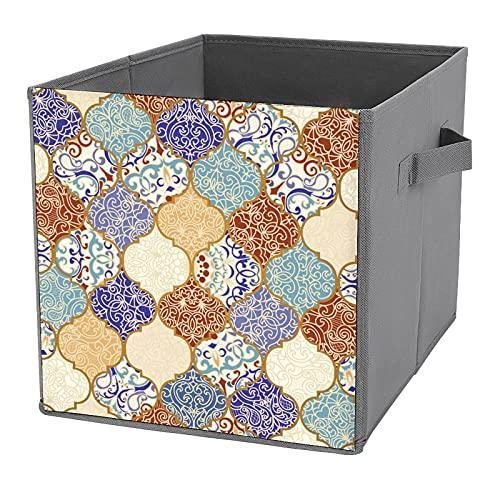 Contenedores de almacenamiento plegables,azulejos de cerámica,coloridos mosaicos,cajas de almacenamiento vintage,contenedores organizadores,cestas para juguetes,estantes,ropa,libros