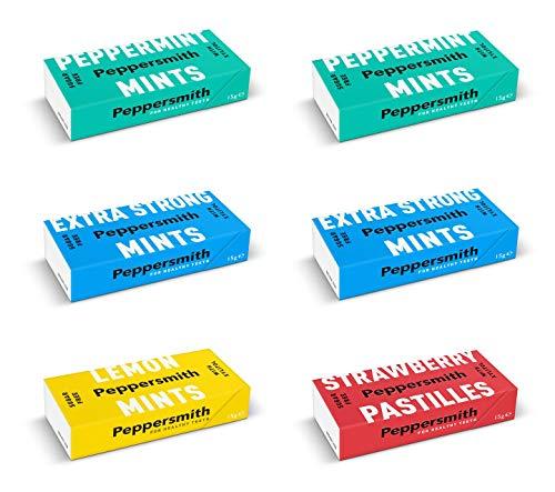 Peppersmith Mints PROBIERSET: 2x Pfefferminz, 2x Extra Strong, 1x Lemon, 1x Erdbeer, 90 g
