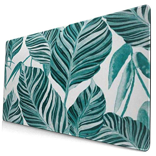 HENTIN Antislip rubberen gamingmuismat, rechthoekig muismat Aquarel tropische bladeren Palmen Monstera Passievrucht Mooie allover exotische planten Badmode