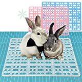 RUBYHOME 2 Pieces Rabbit Mats for Cages Rabbit Guinea Pig Hamster and Other Small Animal Cage Hole Mat Prevent Pet Skin Disease with 4 Fixed Tabs (Blue)