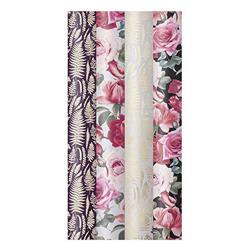 ARTEBENE Geschenkpapier Geschenkpapierbogen Geschenkpapierrolle Rolle 4er Set Rosen Muster