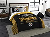 nw Pittsburgh Steelers Draft - 3 Piece King Size Bedding Comforter Set - Includes: Comforter & Shams - NFL Home Decor Logo Bedding Accessories