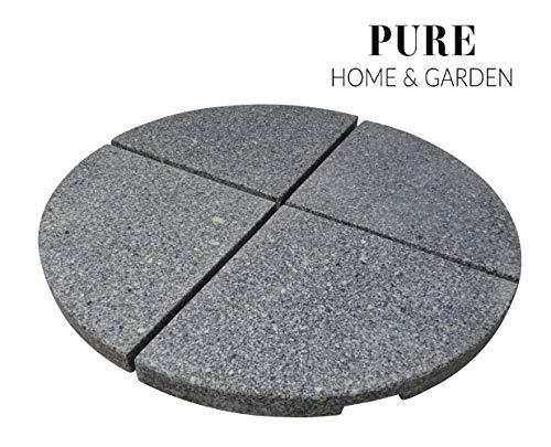 Pure Home & Garden 4 Granitplatten Stout, für Schirmständer, perfekt auch für Ampelschirme, 84 kg Gesamtgewicht