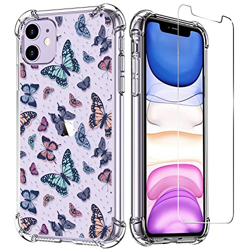 LUXVEER iPhone 11 Case with Tempered Glass Screen Protector,Butterflies Pattern on Soft TPU Bumper Cover for Grils Women,Shockproof Slim Fit Protective Phone Case for Apple iPhone 11 6.1 inch