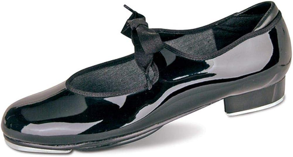 Danshuz Little Girls Black Patent Grosgrain Ribbon Tap Shoes Size 13
