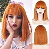 MERISIHAIR Short Orange Bob Wig with Bangs,Straight Bob Colored Wig,Colorful Cosplay High Temperature Heat Resistant Wigs for Women(Orange).