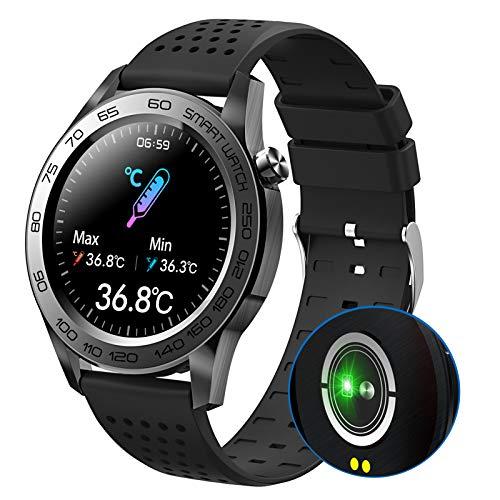 HQPCAHL Smartwatch Reloj Inteligente Hombre con Monitoreo de Temperatura presión Arterial oxígeno en Sangre sueño, Pulsera de Actividad Inteligente 7 Deportes, Fitness Tracker,Negro