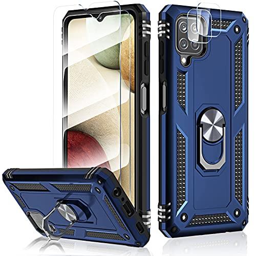 HATOSHI Funda con Samsung Galaxy A12 5G, con 2 Piezas Protector de Pantalla +2 Piezas Protector de Lente de Cámara, [Armor Grado Antigolpe] Cubierta de Teléfono con Soporte de Anillo Magnético, Azul
