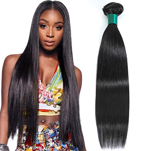 AUTTO Hair Unprocessed Peruvian Virgin Hair Straight Hair One Bundle 18inch Cheap Virgin Human Hair Extension Weft Natural Black Color (100+/-5g)/bundle Can be Dyed and Bleached