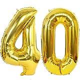 2 Palloncini Numero 40 in Oro, Ouceanwin Gigante Foil Palloncini Numeri 40 Elio Palloncino Gonfiabile 40 Pollici Pallone per Decorazioni Feste 40 anni Compleanno Donna Uomo (100 cm)