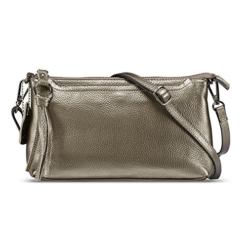 Lecxci Womens Small Leather Crossbody Bag, Zipper Clutch Phone Wallet Purse with [4 Card Slots] for Women (Bronze Silver)