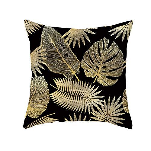 JHJFD Almohada Funda Hojas Doradas sobre Negro De Almohada Cojín 45 X 45 Cm Decorativos para Sofá Cremallera Invisible para Sofá Cama Silla (con Núcleo De Almohada)