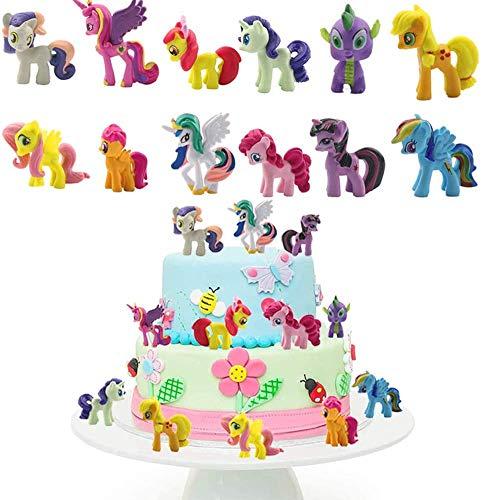ZSWQ Unicorn Cake Topper Mini Figurine Mini Giocattoli per Bambini e Baby Shower Forniture per la Decorazione della Torta della Festa di Compleanno 12 Pezzi