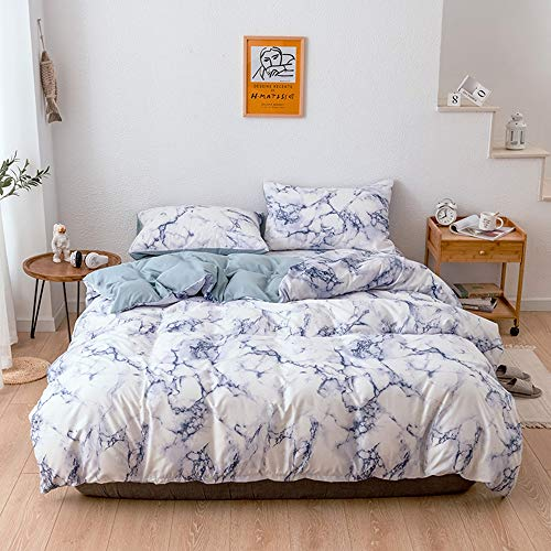 NEWAT Marble Duvet Covers Set Trendy Marbling Pattern Marble Bedding Quilt Cover Set Pillowcases with Zipper Closure for Men and Woman (D,135 x 200 cm)