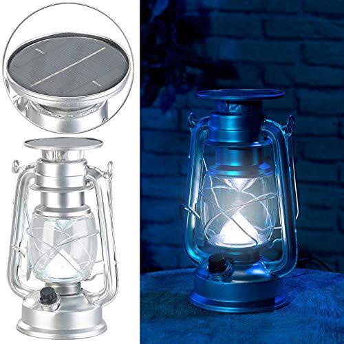 Lunartec Akku Leuchte: Dimmbare High-Power Solar-LED-Sturmlampe, 200 lm, 3 W, silbern (Sturmlaterne Solar)