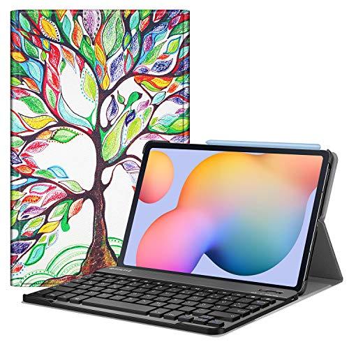 Fintie Tastatur Hülle für Samsung Galaxy Tab S6 Lite 10,4 SM-P610/ P615 2020 mit Stifthalter - Ultradünn Keyboard Case mit magnetisch Abnehmbarer drahtloser Deutscher Tastatur, Liebesbaum