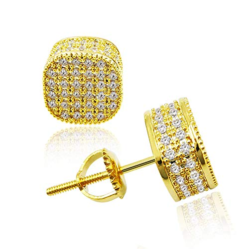 Iced Out CZ Stud Earrings for Women Men Hip Hop Round Square Stud Earrings Hypoallergenic Screw-back 18k Gold Plated Cubist Geometric Cubic Zirconia Ear Studs for Boy Girl Guy Fashion Jewelry