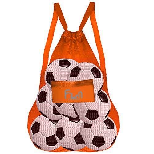 FunFitness Bolsa DE Malla (Naranja, XXL) - Bolsa para la Playa, Piscina Juegos el fútbol
