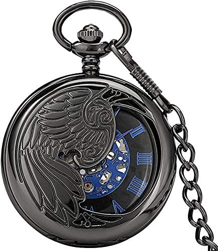 Reloj de bolsillo de bolsillo mecánico de cuerda manual para hombres, reloj de bolsillo con cubierta de patrón P nix para mujeres, números romanos prácticos, reloj colgante de esfera para niños, Navi
