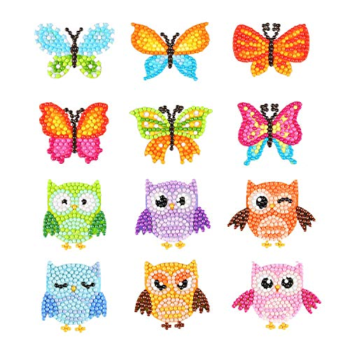 Phogary 5D Diamond Painting Kits for Kids, 12PCS Owl & Butterfly Pattern DIY Arts and Crafts Kits for Children Sticker Paint with Diamonds by Numbers