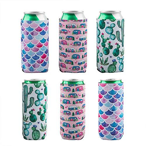 AIFUDA 6 Stück Slim Dosenkühler, faltbare Neoprenhüllen für 340 g und 454 g Bier- & Energy-Getränkedosen (Kaktus, Trolley, Fischschuppen)