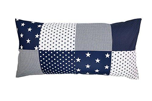 ULLENBOOM ® Patchwork Kissenbezug 40 x 80 cm Blaue Sterne (Made in EU) - Kissenhülle (40x80 cm) aus 100% Baumwolle, ideal für Kopfkissen, Dekokissen, Sofakissen & Kissen im Kinderzimmer