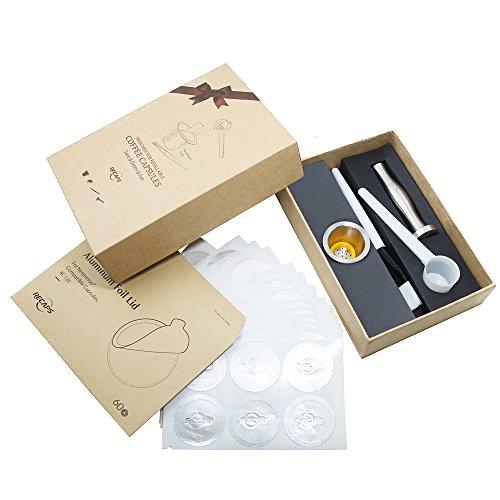 Acero inoxidable recargable Nespresso cápsula reutilizable Café Cápsula * 1 + acero inoxidable de café de manipulaciones...